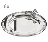 6er Set Untersetzer Flaschenuntersetzer Ente, edel versilbert, Durchmesser 11 cm