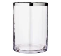 Windlicht Molly, mundgeblasenes Kristallglas mit Platinrand, Höhe 39 cm, Durchmesser 29 cm