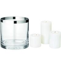 Windlicht Molly, Kristallglas mit Platinrand, H 15 cm, ø 15 cm, Plus 3er Set Dauerkerze Cornelius