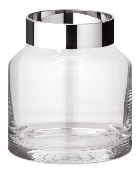 Vase Gabi, mundgeblasenes Kristallglas mit Platinrand, Höhe 19 cm, Durchmesser 17 cm