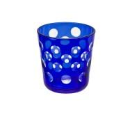 Kristallglas / Teelichthalter Bob, blau, handgeschliffenes Glas , Höhe 8 cm, Füllmenge 0,14 Liter