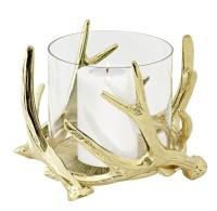 Windlicht Kingston, Geweih-Design, Aluminium, goldfarben, mit Glas, Höhe 15 cm, ø 19 cm