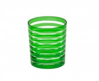Kristallglas / Teelichthalter Nelson, grün, handgeschliffenes Glas , Höhe 9 cm, Füllmenge 0,25 Liter