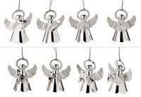 8er Set Baumschmuck Anhänger Engel mit verschiedenen Instrumenten, edel versilbert, Höhe 6 cm