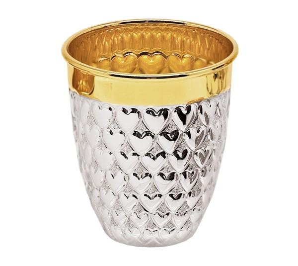 Becher Herz, Echtsilber 925/000, innenvergoldet, H 7 cm, Füllmenge 0,1 Liter, Silbergewicht 74 g