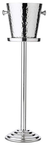 Sektkühler Capri mit Ständer, Edelstahl hochglanzpoliert, außen gemustert, H 85 cm, Kühler H 23 cm