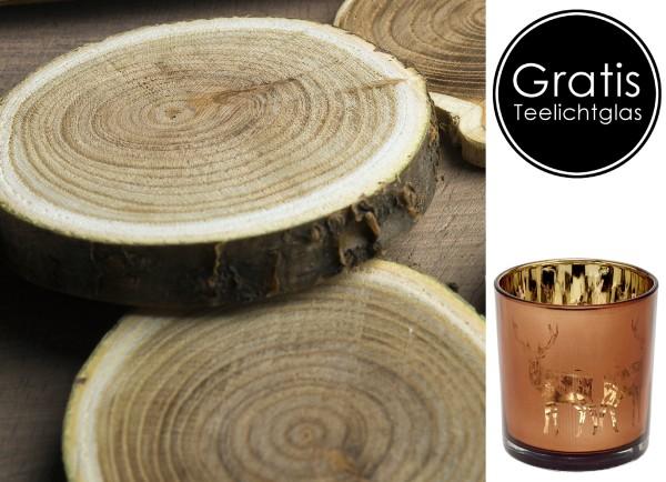 4er Set Deko Holz Baumscheibe, dunkel, ø 70-100 mm, Stärke ca. 10 mm + gratis Teelichtglas Dian 8 cm