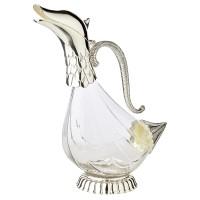 Dekatierente Dekanter Karaffe Duck, Glas, edel versilberte Elemente, Füllmenge 0,9 Liter