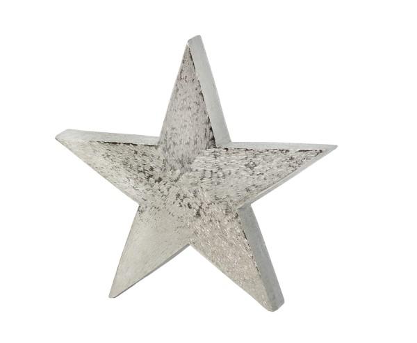 Dekostern, Stern zum Auftstellen, Aluminium gebürstet, vernickelt, Höhe 29 cm