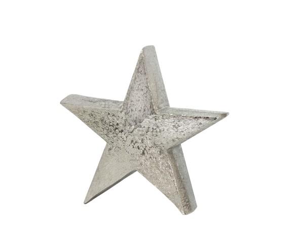 Dekostern, Stern zum Auftstellen, Aluminium gebürstet, vernickelt, Höhe 20 cm