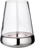 Windlicht Kerzenglas Bora mit glattem Fuß, Glas und Keramik, Höhe 28 cm, Durchmesser 18 cm