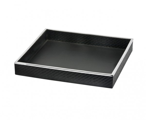 Tablett Serviertablett Jackson, quadratisch, Stahl mit Kunstlederbezug, 38 x 38 cm