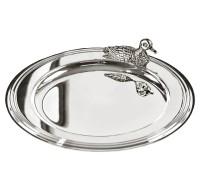 Untersetzer Flaschenuntersetzer Ente, edel versilbert, Durchmesser 11 cm