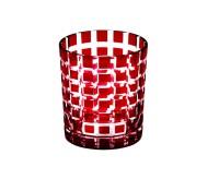 SALE Kristallglas / Teelichthalter Marco, rot, handgeschliffenes Glas , Höhe 9 cm, Füllmenge 0,25 L
