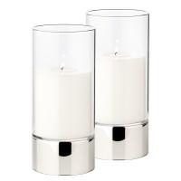 2er Set Windlicht Granada, Keramik silberfarben und Glas, Durchmesser 9 cm, Höhe 20 cm