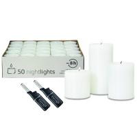 Teelichtkerze Cornelius, 3er Set, Ø 6 cm, H 6, 8 & 10 cm, Plus 50 Teelichter Plus 2 Mini-Stabfeuerze
