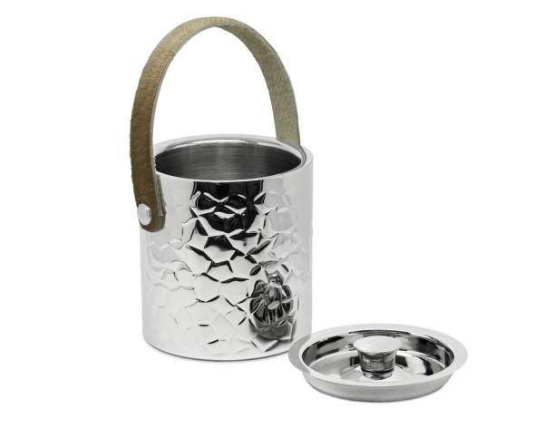 2. Wahl Eiseimer Capri mit Deckel, Edelstahl hochglanzpoliert, außen gemustert, Ledergriff, H 17 cm