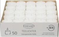 50 Stück WENZEL Nightlights Teelichtkerzen, weiß, transparente Kunststoffhülle, Brenndauer ca. 8 h