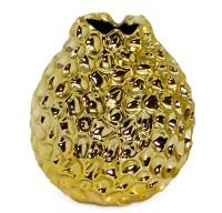 SALE Vase Dekovase Bella, Keramik, Goldoptik, Höhe 19 cm, Durchmesser 18 cm