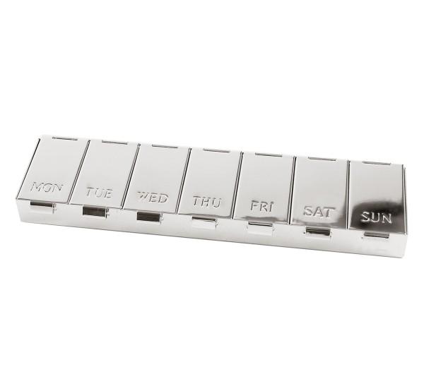 Pillendose Pillenbox für 7 Tage, Länge 15 cm, edel versilbert, anlaufgeschützt