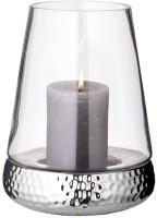 Windlicht Kerzenglas Bora mit gehämmertem Fuß, Glas und Keramik, Höhe 28 cm, Durchmesser 18 cm