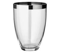 Vase Charlotte, mundgeblasenes Kristallglas mit Platinrand, Höhe 24 cm, Durchmesser 19 cm