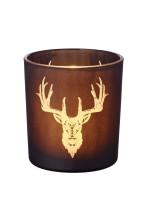 Windlicht Teelichtglas Kerzenglas Alex, schwarz, Hirsch, Höhe 8 cm