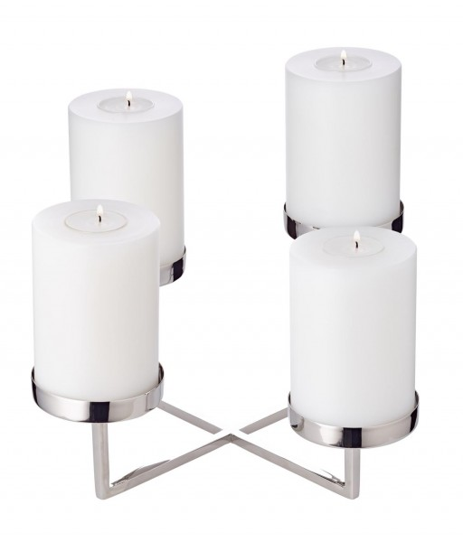 Adventskranz Kerzenhalter Pamplona, Edelstahl vernickelt, L 25 cm, H 14 cm, für Stumpenkerzen ø 8 cm