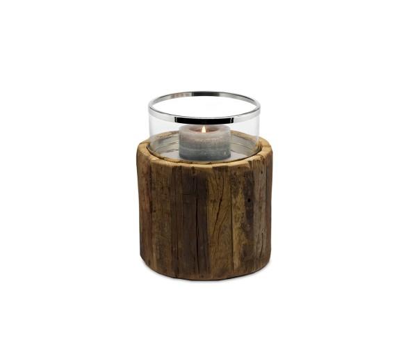 SALE Windlicht Blackburn, Teakholz, Glas, Edelstahl glänzend vernickelt, Höhe 26 cm, Ø 22 cm