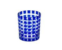 SALE Kristallglas / Teelichthalter Marco, blau, handgeschliffenes Glas , Höhe 9 cm, Füllmenge 0,25 L