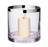 Windlicht Molly, mundgeblasenes Kristallglas mit Platinrand, Höhe 15 cm, Durchmesser 15 cm
