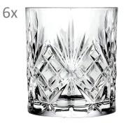RCR Melodia 6er Set Wasserglas Whiskeyglas, Luxion-Kristall, Schliffdekor, H 9,5 cm, ø 8 cm, 310 ml