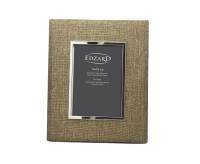 SALE Fotorahmen Teramo für Foto 13 x 18 cm, Textil beige, edel versilbert, anlaufgeschützt, 2 Aufhän