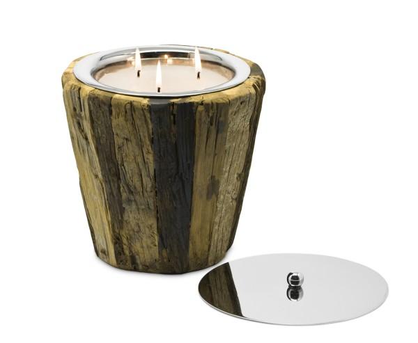 SALE Windlicht Gerold mit Deckel, 3-flammig, Teakholz, Edelstahl glänzend vernickelt, H 21 cm, ø 20