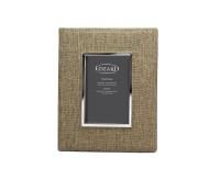 SALE Fotorahmen Teramo für Foto 10 x 15 cm, Textil beige, edel versilbert, anlaufgeschützt, 2 Aufhän