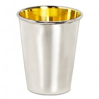 Trinkbecher Silberbecher Salta, schwerversilbert, innen Goldoptik (Messing poliert), Höhe 10 cm