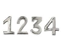 4er Set Kerzenpin Kerzenstecker Advent, Zahlen 1 bis 4, Aluminium vernickelt goldfarben, Höhe 4 cm