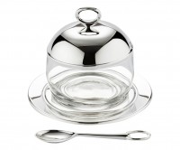 Marmeladenglas / Zuckerdose Jago, Deckel edel versilbert, Höhe 10 cm