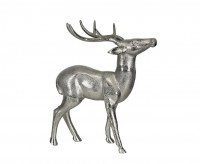 SALE Dekofigur Deko Rentier, Aluminium vernickelt, Höhe 70 cm