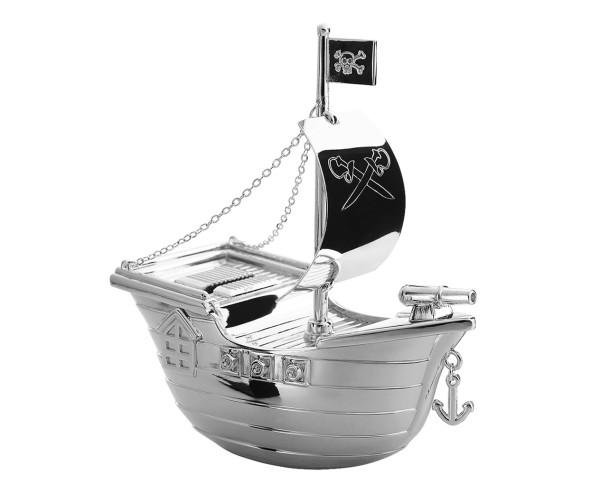 Spardose Sparbüchse Piratenschiff, edel versilbert, anlaufgeschützt, Höhe 15 cm