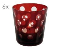 Kristallglas / Teelichthalter Bob, rot, handgeschliffenes Glas , Höhe 8 cm, Füllmenge 0,14 Liter