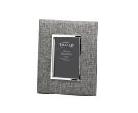 SALE Fotorahmen Elda für Foto 10 x 15 cm, Textil grau, edel versilbert, anlaufgeschützt, mit 2 Aufhä