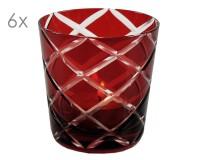 6er Set Kristallgläser Dio, rot, handgeschliffenes Glas , Höhe 8 cm, Füllmenge 0,14 Liter