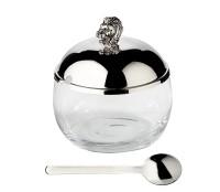 Marmeladenglas Löwe mit Löffel, edel versilbert, Höhe 12 cm, Durchmesser 10 cm