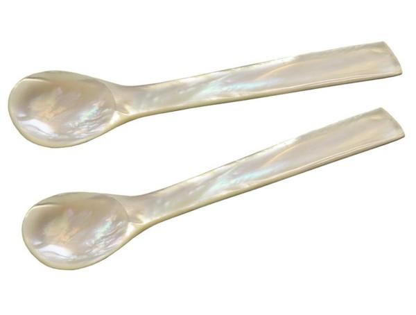 Eierlöffel Perlmutt eckig L 11 cm, 2er Set