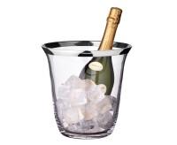 Flaschenkühler Sektkühler Toby, mundgeblasenes Kristallglas mit Platinrand, Höhe 23 cm, ø 22 cm