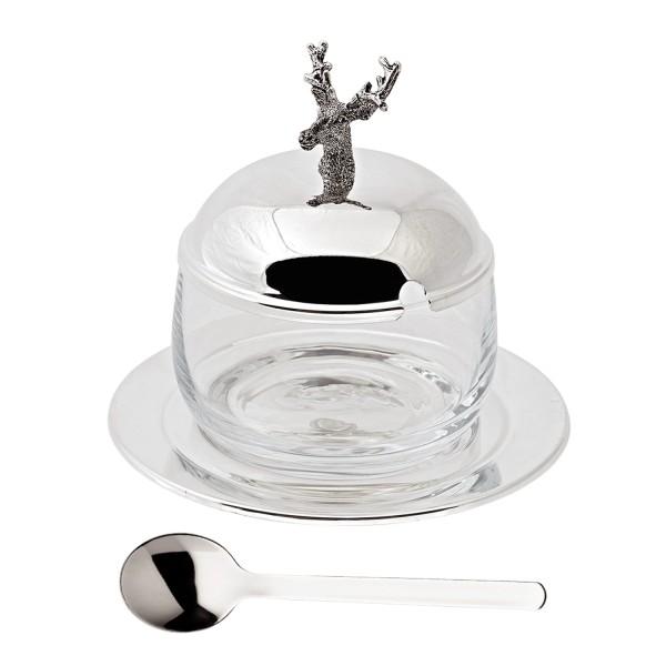 Marmeladenglas Hirsch mit Untersetzer und Löffel, edel versilbert, Höhe 11 cm, ø 14 cm, ø Glas 10 cm