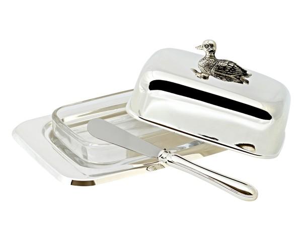 Butterdose Ente, 18x13 cm, H 7 cm, versilbert, mit Glasschale und Buttermesser, für 250 gr Butter