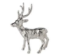 Dekofigur Rentier Rudolph, Aluminium vernickelt silberfarben, Höhe 18 cm