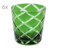 SALE 6er Set Kristallgläser Dio, grün, handgeschliffenes Glas , Höhe 8 cm, Füllmenge 0,14 Liter